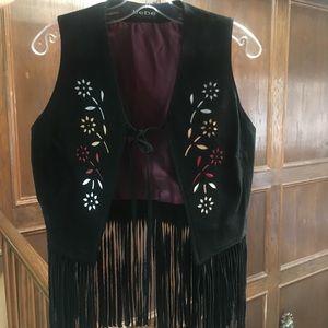 Leather Suede Fringe Vest